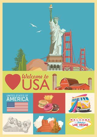 Welkom in de VS. Poster van de Verenigde Staten van Amerika. Vectorillustratie over reizen Stock Illustratie