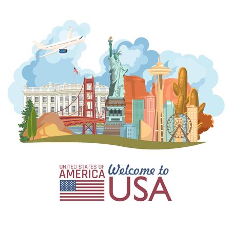 Bienvenue aux Etats-Unis. Affiche des États-Unis d'Amérique. Illustration vectorielle sur le voyage