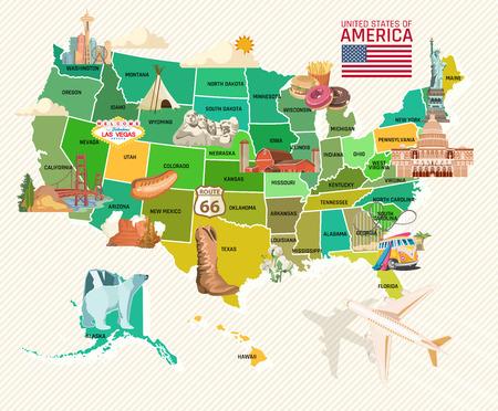 アメリカへようこそ。アメリカ合衆国のポスター。旅行についてのベクトル図