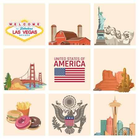 미국에 오신 것을 환영합니다. 미국 포스터. 여행에 대한 벡터 일러스트 레이션 스톡 콘텐츠 - 81864386