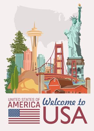 Welkom in de VS. Verenigde Staten van Amerika poster. Vector illustratie over reizen