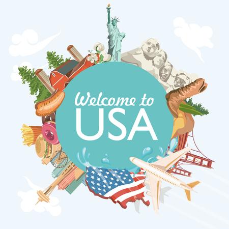 미국에 오신 것을 환영합니다. 미국 포스터. 여행에 대한 벡터 일러스트 레이션