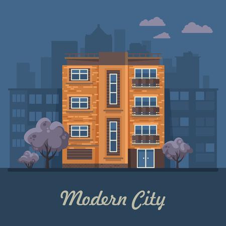 都市生活。ベクトル イラストの建物、戸建住宅、一戸建て住宅、バンガロー、マンション、高層ビル。