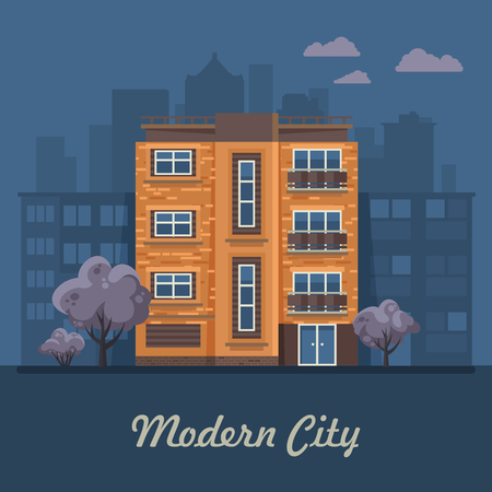City life. Vector illustration with buildings, detached house, semi-detached house, bungalow, mansion, high-rise building.