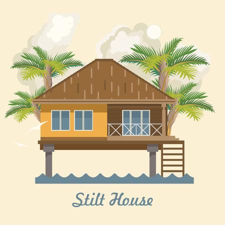 Maison sur pilotis. Illustration vectorielle Banque d'images - 82178274