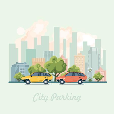 Stadsparkering met kleurrijke auto's en parkeerbord. Vector illustratie.