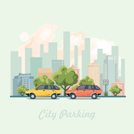 City parking with colorful cars and parking sign. Vector illustration.