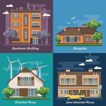 City life. Vector illustration with buildings, detached house, semi-detached house. Stock Illustratie