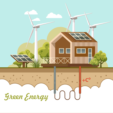 Bio green energy poster. Eco friendly house. Vector illustration.