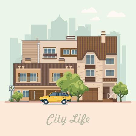 Stadsleven. Vector illustratie met gebouwen, vrijstaande woning, halfvrijstaand huis, bungalow, herenhuis, hoogbouw.