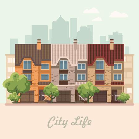 Stadt leben. Vektor-Illustration mit Gebäuden, Einfamilienhaus, Doppelhaus, Bungalow, Herrenhaus, Hochhaus. Standard-Bild - 82178300
