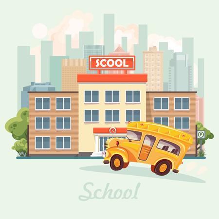 Back to school. School building in flat design.