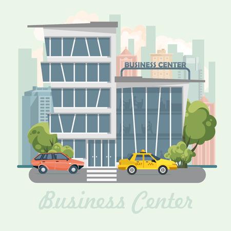 Business center vector illustration in flat design. Urban landscape.