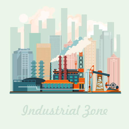 warehouse building: Industrial zone vector illustration with modern plant in flat design.