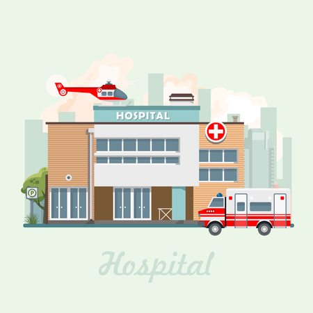 Hospital building vector illustration in flat design. Modern clinic with helicopter Illustration