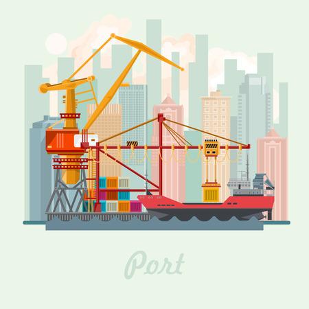 海ポート ベクトル イラスト。都市の景観。海船。輸送の概念。