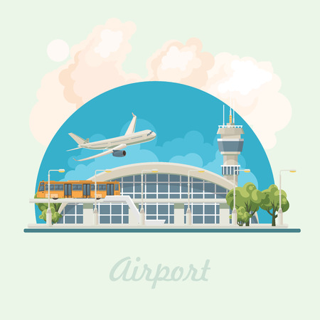 Airport modern building vector illustration in flat design.