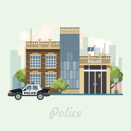 Politiebureau die vectorillustratie in vlak ontwerp bouwen.
