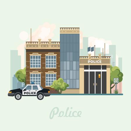 Polizeibehördegebäude-Vektorillustration im flachen Design. Standard-Bild - 83088075