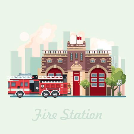 フラットなデザインのベクトル図を建物火災 statsion。