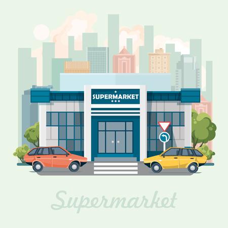 Supermarket building vector illustration in flat design.