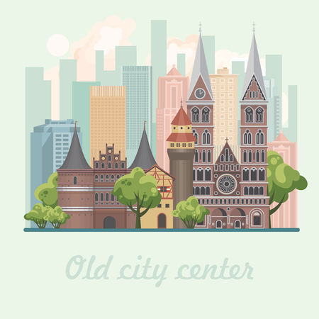 Old city center vector illustration in flat design