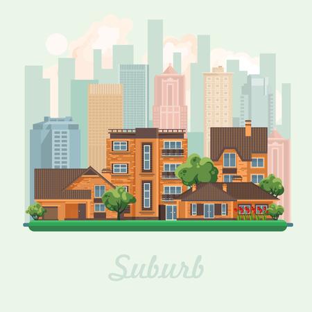 Suburb vector illustration in flat design.