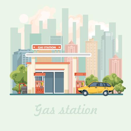 Benzinestation vectorillustratie in platte ontwerp