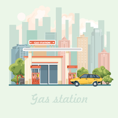Gas station vector illustration in flat design Illustration