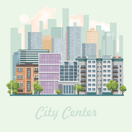 Modern city center vector illustration in flat design. Ilustração