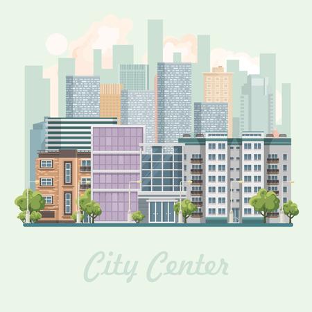 Modern city center vector illustration in flat design. Illustration