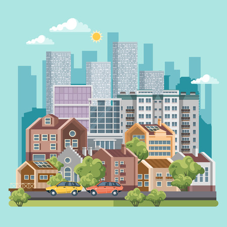 Green city vector concept. Infographic with set of buildings, infrastructure, modern technology and plants.
