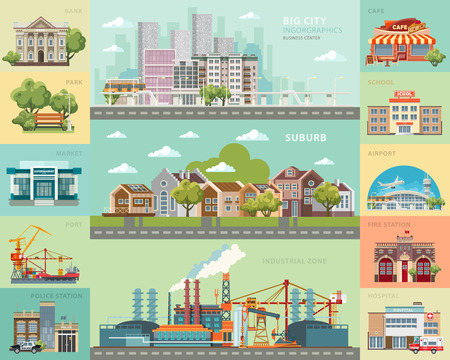 Big city concept. Infrastructure vector set Illustration