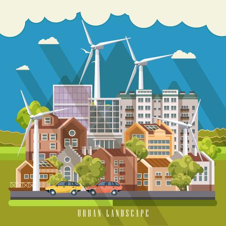緑豊かな街ベクトル概念。建物、インフラ、近代的な技術と植物のセットを持つインフォ グラフィック。 写真素材 - 83385643