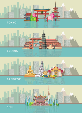 Set of vector cards with landmarks of Tokyo, Beijing, Seoul and Bangkok. Travel concept.