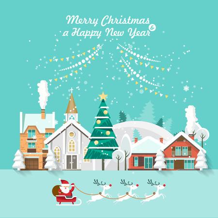 Joyeux Noël et une bonne année vector carte de voeux dans un design plat moderne. Ville de Noël. Banque d'images - 83786462