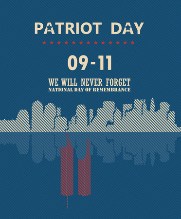 world trade center: Patriot day vector poster. September 11. 9  11