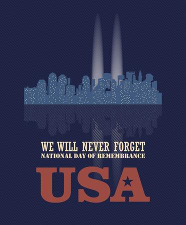 Patriot day vector poster. September 11. 9  11