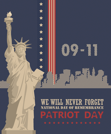 Patriot day vector poster. September 11. 9  11