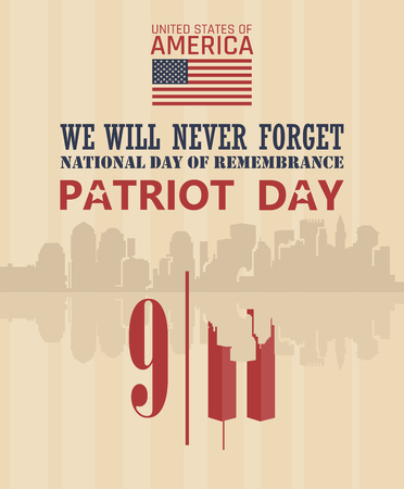 Patriot dag vector poster. 11 september 911 Stock Illustratie