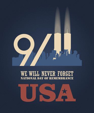 愛国者日ベクトル ポスター。9 月 11 日。911