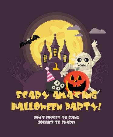 Happy Halloween greeting card illustration.