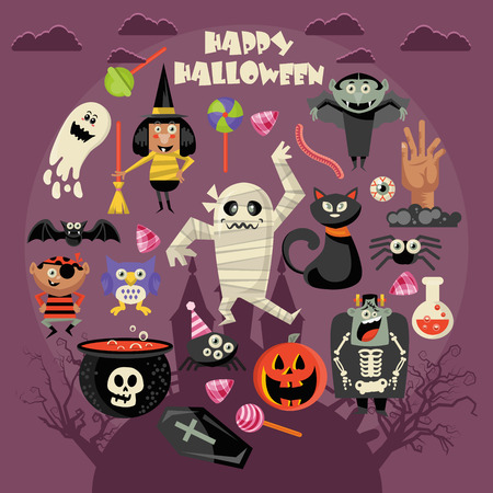 Happy Halloween-wenskaartillustratie. Stock Illustratie