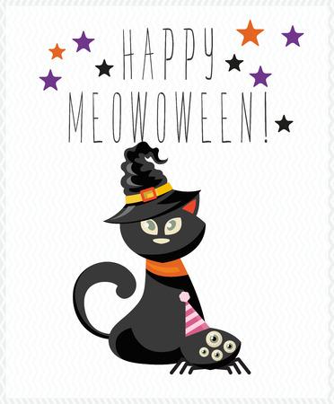 Happy Halloween-wenskaartillustratie. Stock Illustratie