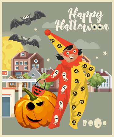 Happy Halloween vector greeting card with Jack o lantern Çizim