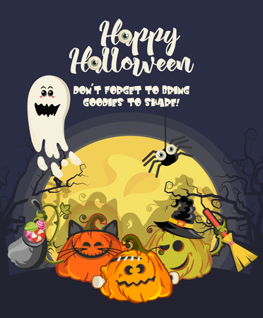 Happy Halloween vector greeting card with Jack o lantern Çizim