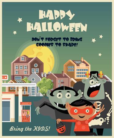 Happy Halloween greeting card with Halloween kids 向量圖像