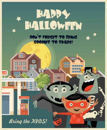 Happy Halloween greeting card with Halloween kids Illustration