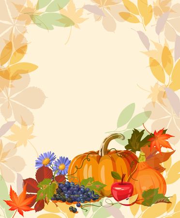 Happy Thanksgiving day. Vector greeting card with autumn fruit, vegetables, leaves and flowers. Harvest festival Vectores