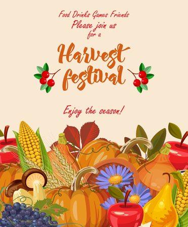 Happy Thanksgiving day. Vector greeting card with autumn fruit, vegetables, leaves and flowers. Harvest festival Vettoriali